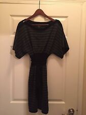 LAUNDRY BY SHELLI SEGAL 100% MERINO WOOL Black and Gray DRESS with Zipper Detail