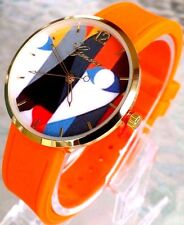 Ladies Geneva Fashion Watch MC38862 Orange Band Printed Dial Water Resistant