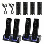 4x 2800mAh Battery + Charger Dock Stand Charging Station for Wii Remote Black
