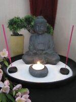 Zen Garten Thai Buddha mit Räucherstäbchen Teelichthalter Feng Shui Dekoration