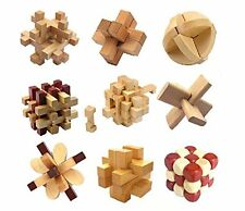 9pcs/set Traditional Wooden Adult Children Puzzle Intelligence Education Toy