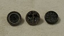 Lot of 3 Small Antique Vintage Metal Picture Buttons Collectible Unique