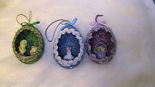 Easter Eggs Hand Decorated REAL Duck Eggs Glittered Painted Ornament #24