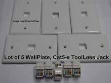 5x Cat5e RJ45 ToolLess Kestone Jack Cat5-e Ethernet White Jack & Wall Plates