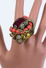 C & D gilt brass w/antique finish massive ring Ruby, Coral, Aventuyine Green