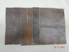 Scrap leather Genuine Cowhide Variety of  Brown Shades 6 pieces 8x6 inches New