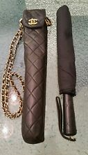 Auth CHANEL Vintage Quilted CC Chain Shoulder Bag Folding Umbrella Black M11484