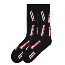 K. Bell Men's Crew Socks Bring Home The Bacon Black Novelty Funny Footwear