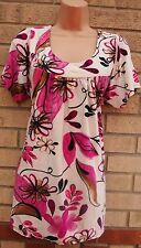 MUST PINK WHITE QUILTED FLORAL LYCRA VTG TEA BLOUSE TUNIC T SHIRT TOP CAMI XXXL