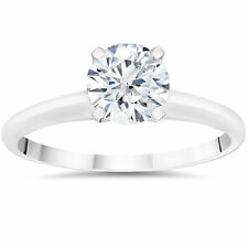 3/8ct Lab Created Solitaire Diamond Engagement Ring 14k White Gold