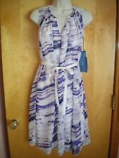 NWT NEW womens size PS purple white watercolor VERA WANG dress $68 retail