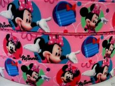 """Grosgrain Ribbon 7/8"""" Minnie Mouse MN12  PINK  ( COMBINE SHIPPING )  USA SELLER"""