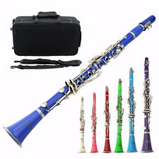 Beginner Senior Clarinet Bb 17 Key Musical Instrument With Case Care Kit 8 Color