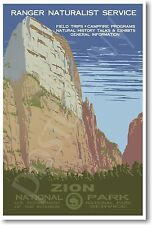 Zion National Park Utah - Vintage Travel Wildlife NEW Reproduction POSTER
