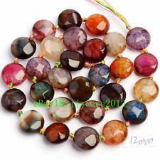 12mm Natural Faceted Cracked Multicolor Agate Coin Shape Loose Beads Strand 15""