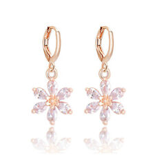High Quality 18k Gold Plated Cubic Zirconia Flower Drop/Dangle Earrings
