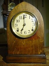 ANTIQUE SESSIONS 1920'S NO.240 DARK OAK CABINET BEEHIVE SHELF CLOCK WORKING WELL