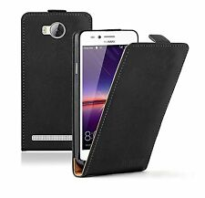 SLIM BLACK Leather Flip Case Cover Pouch For Huawei Y 3II (+2 FILMS)