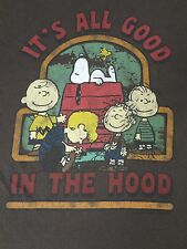 PEANUTS-CHARLIE BROWN AND THE GANG- ALL GOOD IN THE HOOD- LRG BROWN T-SHIRT-D42