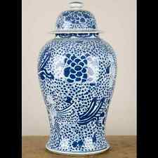 Chinese oriental porcelain GINGER JAR blue & white phoenix tall lidded 20""