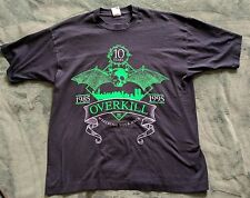 """Vintage OVERKILL """"Wrecking Your Neck 1985 - 1995"""" OFFICIAL Concert T Shirt XL"""
