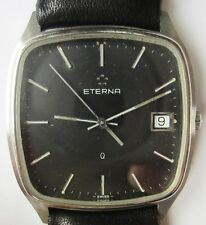 Gents 1980s SS Eterna Quartz Date Watch ESA 955.111 Serviced Warranty stunner