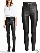 H&M SIZE 36 38 / UK 10 12 SKINNY BIKER Lederhose FAUX LEATHER LEGGINGS TROUSERS