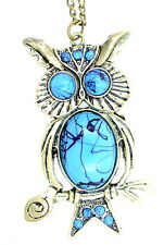 Vintage style bronze and turquoise coloured owl owlet charm necklace