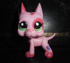Littlest Pet Shop LPS Strawberry Pink Patches Dane Dog Puppy Green Eyes Toy Xmas