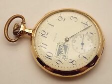 Antique 1915 Buick 14K solid gold elgin pocket watch 12 size gents