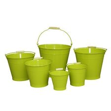 16cm Green Zinc Bucket/Metal/Tin/Container/Storage/Flower Pot/Home/Garden