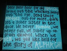 """ALPH CHI sorority sisters BEER SIGN PAINTING 14"""" x 11"""" Wall art decor"""