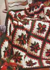 Crochet Pattern Afghan Blanket Throw Christmas Poinsettia Textured Petal
