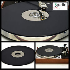 Matt Black & Mirror Acrylic Turntable Platter Mat fits THORENS w/ 45 adapter.