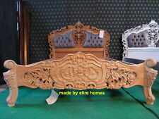 UK STOCK 5' UK King Size oriental  carved mahogany designer French Rococo bed