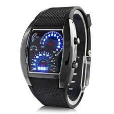 Fashion Men's Black Stainless Steel Sport Digital LED Date Analog Wrist Watch