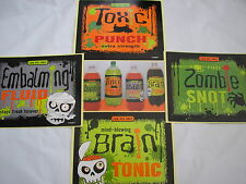 12 Halloween pop bottle labels,zombie snot,toxic punch,brain tonic embalming