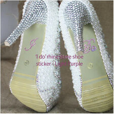 'I DO' Diamante - Light Purple - Crystal Rhinestone Wedding Shoe sticker decal