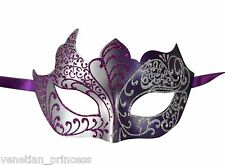 Purple SIlver Men's Venetian Mask Masquerade Laser Cut Mardi Gras Wedding Prom