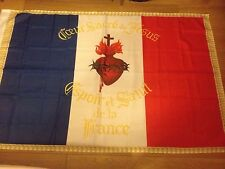 DRAPEAU Sacré Coeur  FRANCAIS bandiera flag france catholique roi jésus royal .