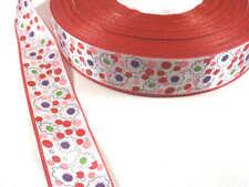 3 Mètres 3m de Ruban Satin 25mm Blanc et Rouge Imprimé Fleurs Multicolores