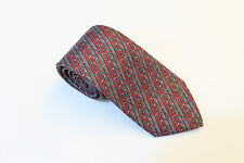 HERMES BURGUNDY WINE & GRAY STRIPED STIRRUP 100% SILK TIE MADE IN FRANCE