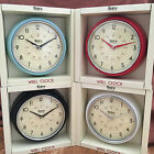 NEW Retro Vintage Shabby Round Wall Clock Office Kitchen Red Black White Blue