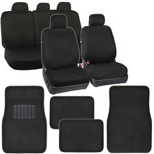Poly Black Seat Covers for Car Auto Floor Mats Carpet Front & Rear Full Set