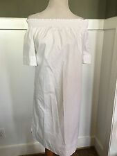 J.CREW OFF-THE-SHOULDER DRESS IN COTTON POPLIN SIZE 16T WHITE F5784