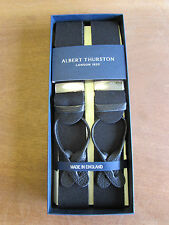 ALBERT THURSTON BOXCLOTH LEATHER END BRACES ONE SIZE TOP QUALITY BLACK