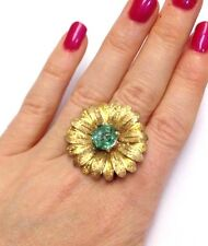 3 CT Brilliant Hexagon Cut Colombian Emerald Gold Sterling Silver Flower Ring