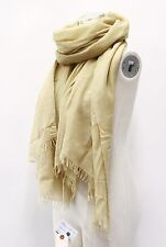 NWT. $1025 Brunello Cucinelli Women's Soft Cashmere & Silk Long Gold Wrap Scarf