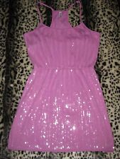 SZ L Large AEROPOSTALE Pink Sequin Glitter Racer Back Casual Dress Shelf Bra