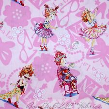 BonEful Fabric Cotton Quilt Pink Dot FANCY NANCY Costume Girl Flower FQ Lg SCRAP